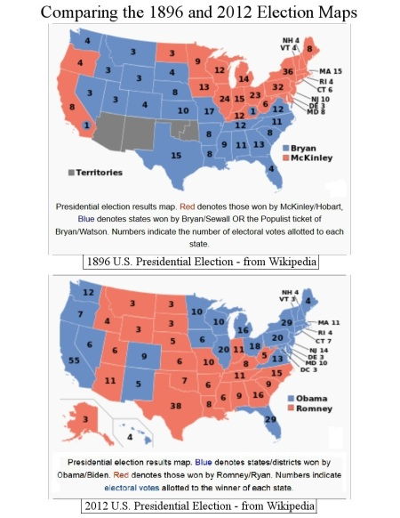 Comparing the 1896 and 2012 Election Maps