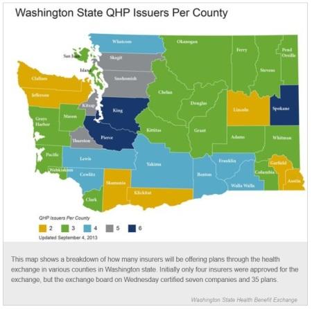Washington State ACA options per County