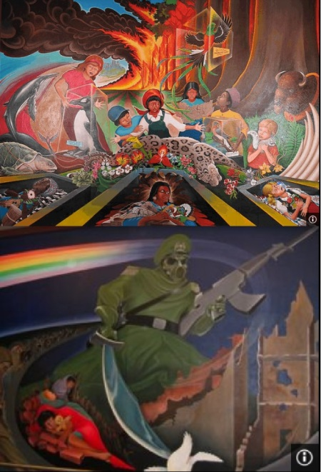 Apocalyptic images in murals at Denver International Airport