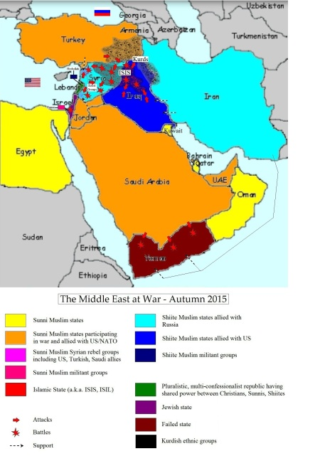 The Middle East at War  Autumn 2015 MAP  The Secular Jurist