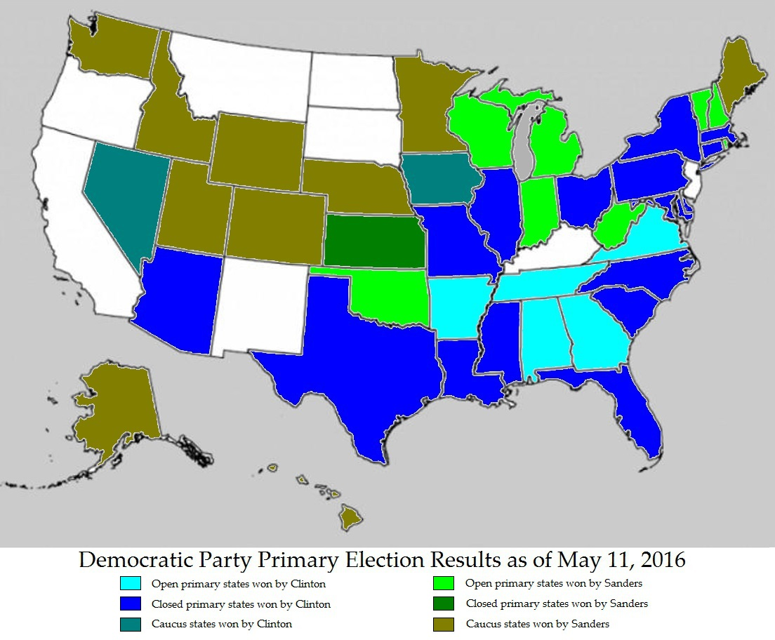 map of the democratic party primary election results as of may 11
