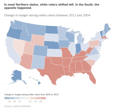 NYT Analysis - White Voter Shift by Party